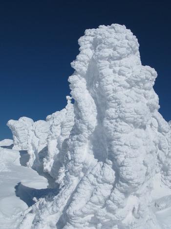 樹氷ひとつひとつに重厚感があります。近くで見ることで、自然の厳しさ・雄大さを実感できますよ。