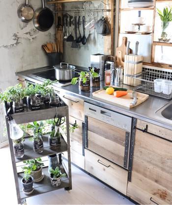キッチンワゴンは植物を飾る場所としても人気のアイテムです。こちらのワゴンに並んでいるのは、【Seria】のメイソンジャーなどに植えられた様々なハーブ。キッチン横まで移動させて、気軽にお料理に使います。