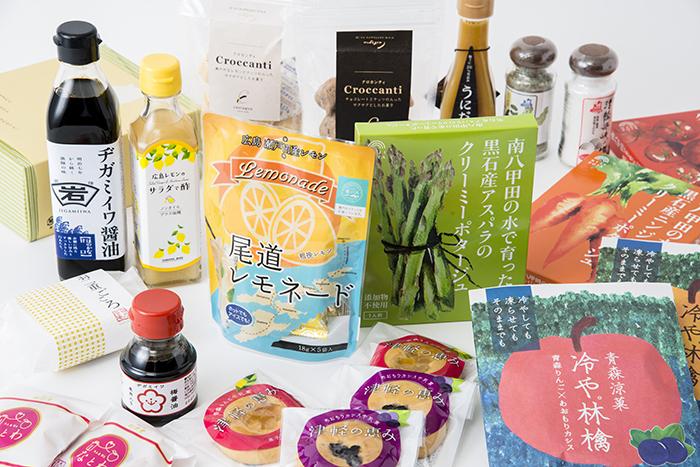 """青森・福井・広島から約60種類のアイテムを集めた「蚤の市ミニ物産展」。地域の特産品を使った""""人気の逸品""""はもちろん、「AKOMEYA TOKYO」で初お披露目になる""""隠れた逸品""""にも出会えますよ。"""