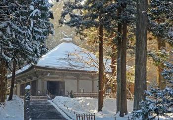 こちらは雪と太陽の光が神々しい、中尊寺金色堂。金色堂は平泉の中でも特に有名なスポットなので、多くの観光客が押し寄せますが、冬は一足がまばらになるのでゆっくり拝観できます。冬はこのように神秘的なな雰囲気が満点で、思わずシャッターを切らずにはいられません。