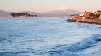 お店の前の道をそのまま歩いて行くと、3分程で海岸に出られます。高台になっている稲村ガ崎公園からは、天気がよければきれいな江ノ島と富士山が見渡せますよ。朝の冷たい空気の中に浮かび上がる風景は、心を穏やかにしてくれる美しさです。