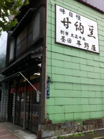 """本所吾妻橋駅から歩いて7~8分のところにある「平野屋」は、大正10年創業の老舗甘納豆店です。スカイツリーからだと歩いて約15分、""""味自慢""""の看板が目印です。"""