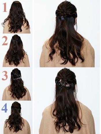 1.髪の表面に波ウエーブをつけておきます。 2.中央よりに、ひとつに結びます。 3.両サイドをロープ編みにします。 4.ひとつにまとめて、ヘアアクセサリーをつけます。