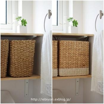 かご収納を有効利用するには、収納力が高まる底面が広いタイプを選ぶのがおすすめ◎色が明るめのかごを選べば、洗面台やトイレの清潔感がアップ。