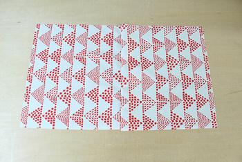 まず、生地を所定のサイズに裁断します。そして、写真のように表布を中表に合わせて底を縫います。