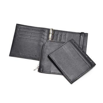 無駄がないシンプルなお財布ながらも、お札入れ・Lジップのコインケース・カード入れが付いていて、長財布なみの収納ができます。バインダー式の財布なので、中身を取り外しできるのが最大の特徴。旅先など、シチュエーションによって、カードを使わないときは取り外し、お財布の容量を調整できます♪