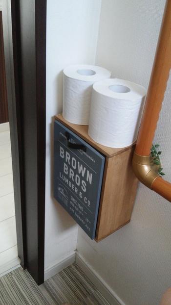 こんな素敵なトイレ収納棚もワインボックスなら簡単ですね。おしゃれな扉を付ければ、さらに洗練された雰囲気に。