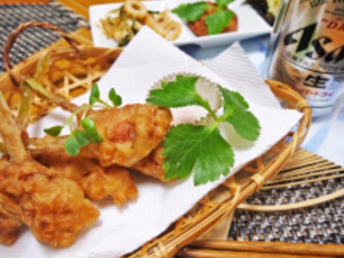 谷中生姜を丸ごと堪能できる豚まき天ぷら。こちらもおつまみにピッタリなスタミナメニューなので、お父さんも大喜びです!