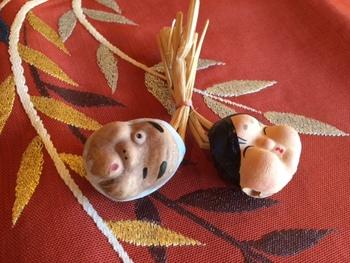 おかめ ひょっとこ・・・笑いと幸福の象徴ですね!童謡おてもやんを思い起こさせる、楽しい縁起の良い対の土鈴です。