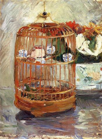 『鳥かご』(1885年)。止まり木の2羽のふくらみがなんともかわいい❤。