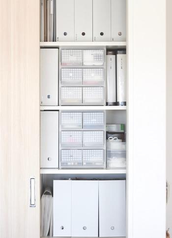押し入れやクローゼット、パントリーなどの扉を開けば美しいボックス収納ですっきりきれい!家族みんなが気持ちよく暮らせそうですよね。 いろいろなサイズを組み合わせて用途に合わせて収納しましょう。