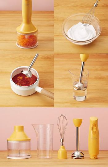 液体の調理に向いていて、フレッシュジュースやスープ、ディップやマヨネーズ、 離乳食づくりなどに便利です。