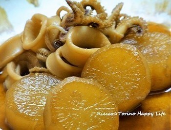 イカのうまみを大根に煮ふくめた冬の和食の定番。イカ特有の匂い(前出のアミン)をはちみつがやわらげてくれるのがうれしい☆