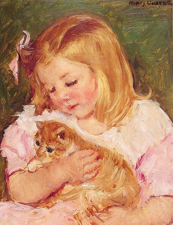 『Sara Holding A Cat/猫を抱くサラ』(1908年)。
