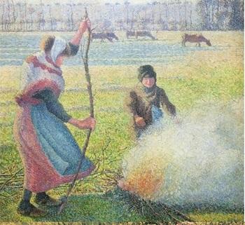 『焚き火をする若い農婦、白い霜 』(1888年)。 パリの北西約70kmに位置する果樹園地帯・エラニー村の晩秋。収穫後のりんごの枝を折って焚火にくべる農家の若い女性と、そばでうれしそうに頬を染める弟。農繁期が終わった子どもたちのいきいきした様子を、ピサロは印象派後期の技法・点描によって表現しました。