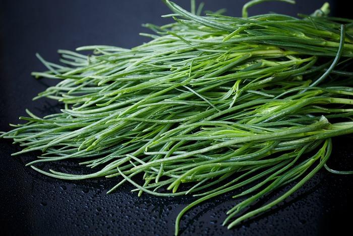 もともとは東北地方の伝統野菜であるおかひじき。海藻のひじきのような見た目の野菜です。カリウムやカルシウムをたっぷり含んでいるので、手に入る機会があればぜひ積極的に食べたいところ。軽く下ゆでして食べると、独特のシャキシャキ感を感じられます。