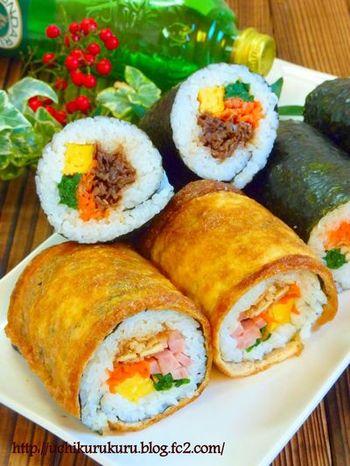 いなり寿司好きにもおすすめ!甘辛いお揚げで巻いた、信田巻風の恵方巻レシピです。ラップで巻けるのも嬉しいポイント!その他にも韓国風やシーフードカリフォルニアロールなどの恵方巻レシピも紹介されているので、参考にしたいですね。