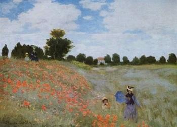 『ひなげし』(1873年)。 真っ赤なひなげしが咲きみだれる丘をウキウキと歩く麦わら帽子の母子。雲が動き、ひなげしが風に揺れています。