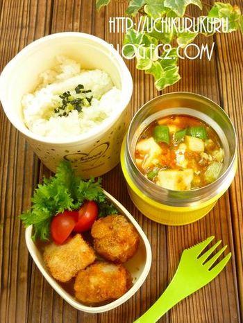 ネギたっぷりの麻婆豆腐は、風邪予防にもなりそう!スープジャーに入れて持っていきたい、お財布にも優しいあったかメニューです。