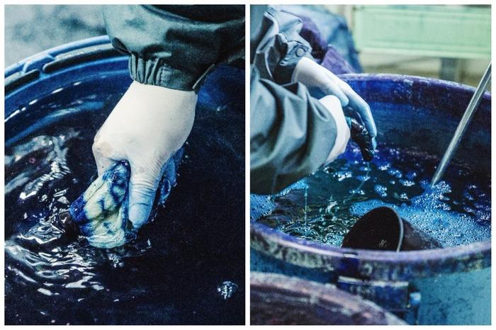水の中で酸素に当て、水分を絞ったあと、さらに濃度の違う染料に浸けていきます。これを何度か繰り返すと……