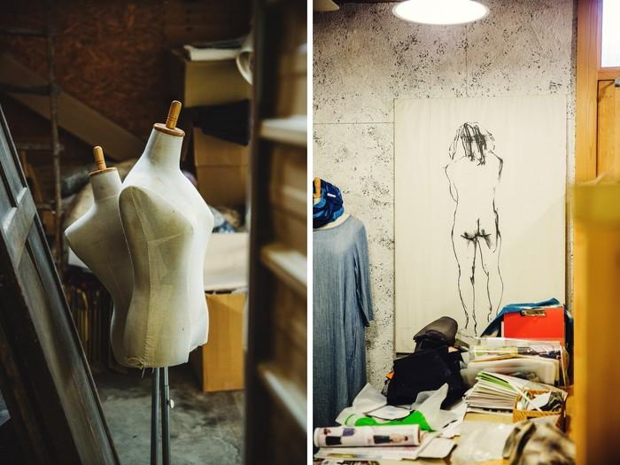 ショップや工房内には、ニューヨーク時代に描いたドローイングやトルソーが飾られています