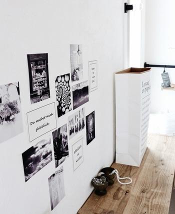 賃貸のお部屋や模様替えが好きな人におすすめなのが、マスキングテープやはがせる両面テープ。壁を傷つけずにポストカードを貼れるうえに、貼り跡も残りません。
