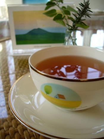 ティーカップにも葉祥明の絵が施されている、ファンにはたまらないカフェテリアも併設されています。阿蘇の山々を眺めながらドライブした後は、草原に囲まれた絵本美術館でひと休みしませんか?