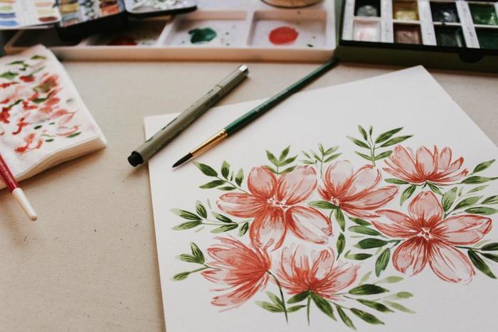 花や植物は水彩画のタッチを使うととても素敵に表現できます。自然な色のグラデーションを上手く表現できるのでおすすめのモチーフです。