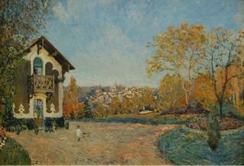 『クール・ヴォランからのマルリー=ル=ロワの眺め』 (1876年)。家に帰る幼い子どもを温かい筆致で描いています。