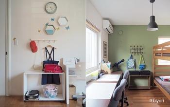 一面だけ淡いくすみグリーンを使った子供部屋はリラックスできそう。お部屋も広く見えそうですね。