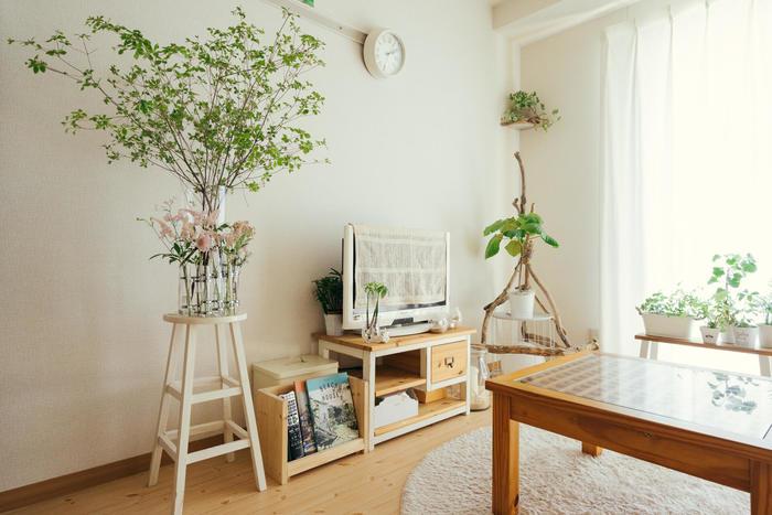 ナチュラルテイストのお部屋は、白やベージュを基調に、植物の緑などが映える清潔で健やかなイメージ。フローリングや木製家具などのぬくもりも大きなポイントに。自然の優しさに包まれ、居心地のいい空間が生まれます。