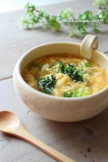 合わせるスープには、ハムやチーズと相性の良い卵スープはいかがですか?なんと5分で作れちゃう簡単スープにもかかわらず、ブロッコリーと卵などの栄養が摂れて、忙しい朝にぴったり♪クイックブレッドを焼いている間にささっと作ってみましょう。