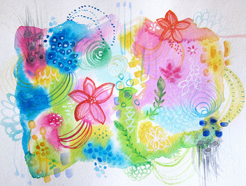 写実的なものではなく、こんな風に想像を膨らませて思うがままに描いてみるのも楽しそう!色使いがきれいですね。