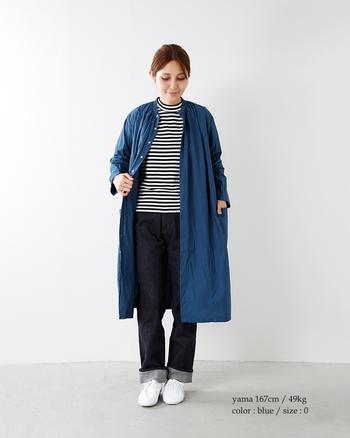 春先のライトアウターとしても、ワンピース風にも着こなせる「シャツコート」。ロングコートとの重ね着も楽しめるので、寒い時期はレイヤードスタイルでおしゃれに着回せるアイテムです。