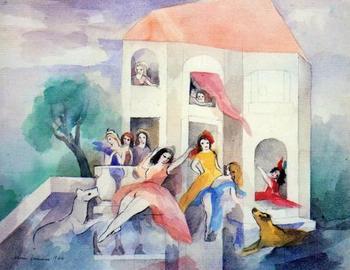 『Femmes sur la terrasse/テラスの女たち』(1946年)。 戦争が終結し、解放感に満ちた女性たちが描かれています。後に訪れるフェミニズムの波を予感したかのような作品。