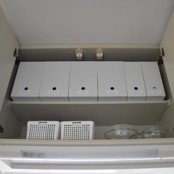 ポリプロピレンの収納シリーズには引き出しタイプの他に、ファイルケース型も。吊り戸の仕切りに使えば、取り出しやすくスッキリと整理できます。