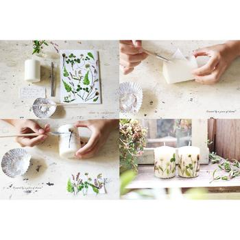 手作りキャンドルに、押し花をあしらえば、素敵なボタニカルキャンドルの出来上がり♪お花の可愛さと、キャンドルのゆらめきで、最高にリラックスできそう。最近お疲れ気味のあの人へ、プレゼントしてみては?