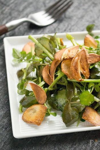 クレソンも春野菜。いつもはメインディッシュに添えられることの多いクレソンですが、せっかくの旬ですから、たっぷり使って季節の恵みのサラダにしましょう。上品な辛味に、ガーリックの風味は相性抜群。お酒が欲しくなる大人味です。