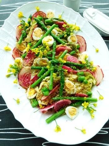 春野菜といえば、柔らかで甘い春キャベツが代表格。そんな春キャベツをオーブンで焼いてサラダの主役に。アスパラ菜の花の部分やウズラの卵、渦巻きビーツなどを彩りよく散らして、ごちそうサラダのできあがり♪