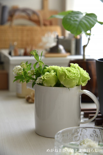 大きなピッチャーお花を飾っています。清潔感がでてステキですね。ピッチャーの淵に沿ってこんもりと活けるのがポイントです。