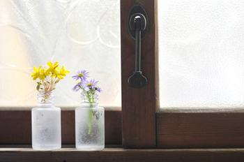 化粧品の空き瓶に道端のお花をそっと飾っています。トイレの小窓に置くと光が入ってお花もイキイキしますね。