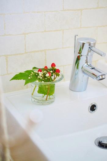 赤い実が洗面所をぱっと明るくしてくれます。洗面所はシンプルな場所なので、ほんの少し色を取り入れるだけで雰囲気が変わりますね。