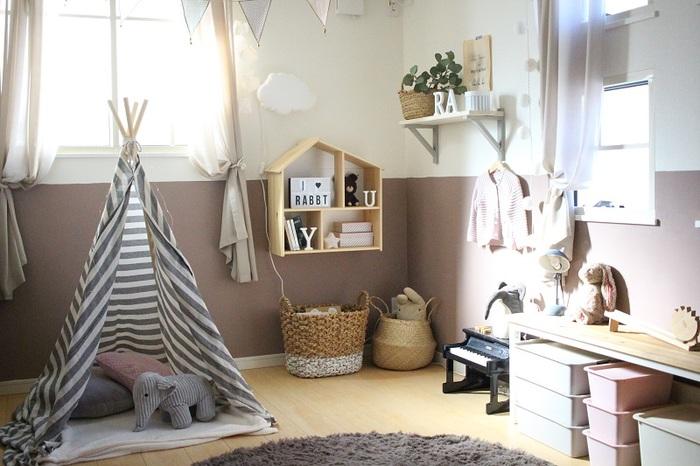 長く使える家具を…と考えてしまうとシンプルで可愛さに欠けるお部屋になってしまうことも。それでは、子供は楽しくありませんよね。せっかくなら子供らしさのある、今しかできないお部屋にもしたいもの。