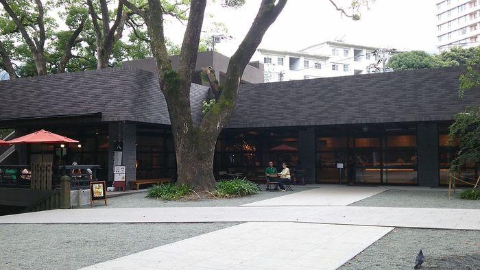 「來宮神社」を訪れたのなら、来福グッズや来福スウィーツを手土産にしましょう。境内の参集殿では、縁起物や御守など多彩な来福グッズを授与しています。【右が「参集殿」、左側がオープンカフェの茶寮「報鼓」】