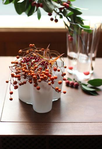 実ものをフラワーベースに飾るのもおすすめです。オレンジ色がかわいらしい飯桐と、赤くて小さいガマズミの枝をくるくると丸めて飾っています。