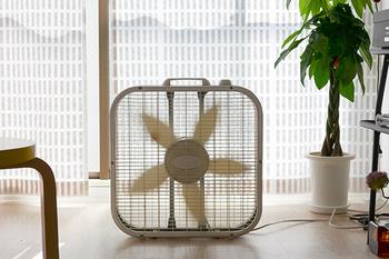 【ラスコ ボックス ファン サーキュレーター】 お部屋の空気を効率よく循環させてくれるパワフルなボックスファン。扇風機代わりにも使えるし、冷房と組み合わせて使うのもよし。デザインもかわいいので、夏場フル活用するのが楽しみになりそうです。