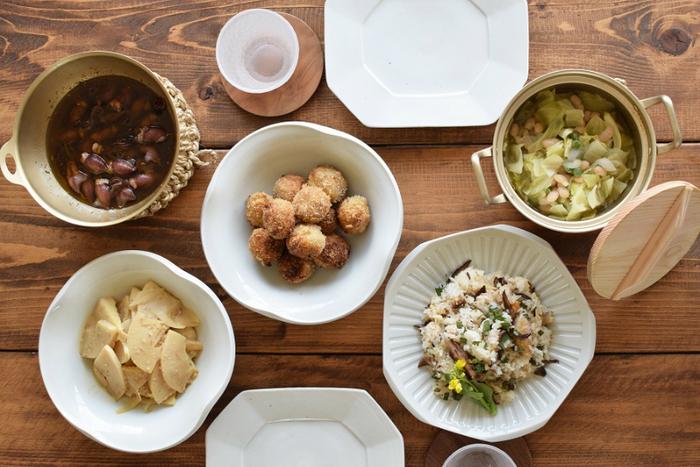 和洋折衷どんな料理にも馴染む白磁は、日常的にとても使い勝手の良い器です。白磁ならではの清楚で上品な「白」は和食・洋食どちらとも相性が良く、白いキャンバスとして様々なお料理を美しく引き立てます。