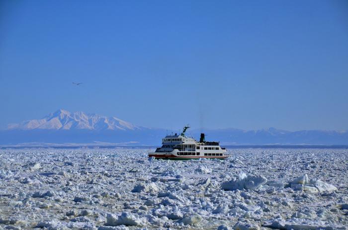 流氷観光には、網走の砕氷船「おーろら号」がおすすめです。紋別では「ガリンコ号」も運行していますよ。分厚い流氷を割ったり削ったりしながらの航海は迫力満点。自然のすごさを感じさせます。