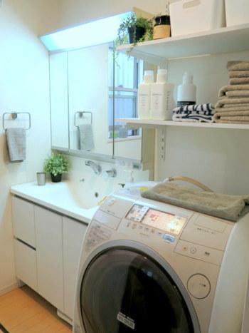 どうしても生活感が生まれてしまう洗面所ですが、グリーンでさわやかな空間に。日当たりの悪い洗面所ではなかなかグリーンが育たないため、IKEAのフェイクグリーンを使用しているんだそうです。
