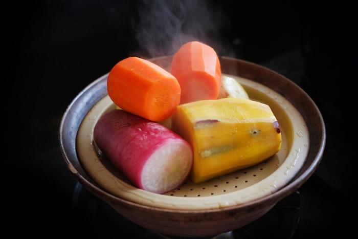 生では摂りにくい野菜も、蒸すだけでも随分と食べやすくなりますね。